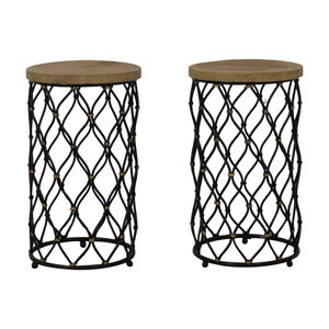 Coast to Coast Accents Coast to Coast Imports Lattice Round Wood and Metal End Tables coupon