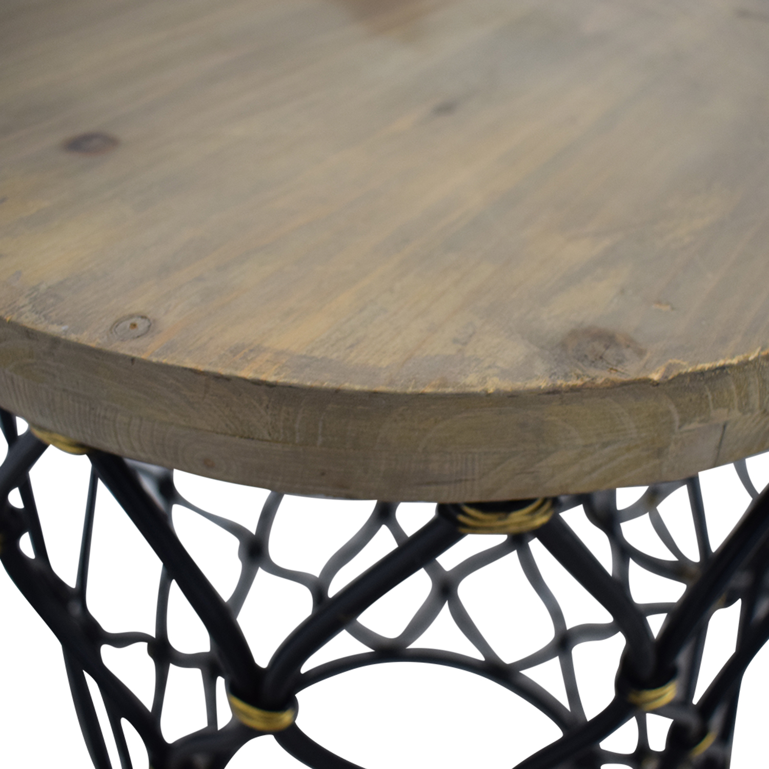 Coast to Coast Imports Coast to Coast Imports Lattice Round Wood and Metal Stools for sale