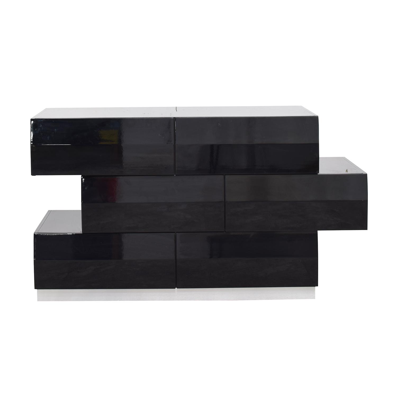 J&M Furniture Milan Black Gloss Six-Drawer Dresser sale