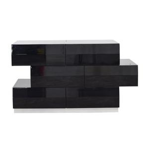 J&M Furniture J&M Furniture Milan Black Gloss Six-Drawer Dresser discount