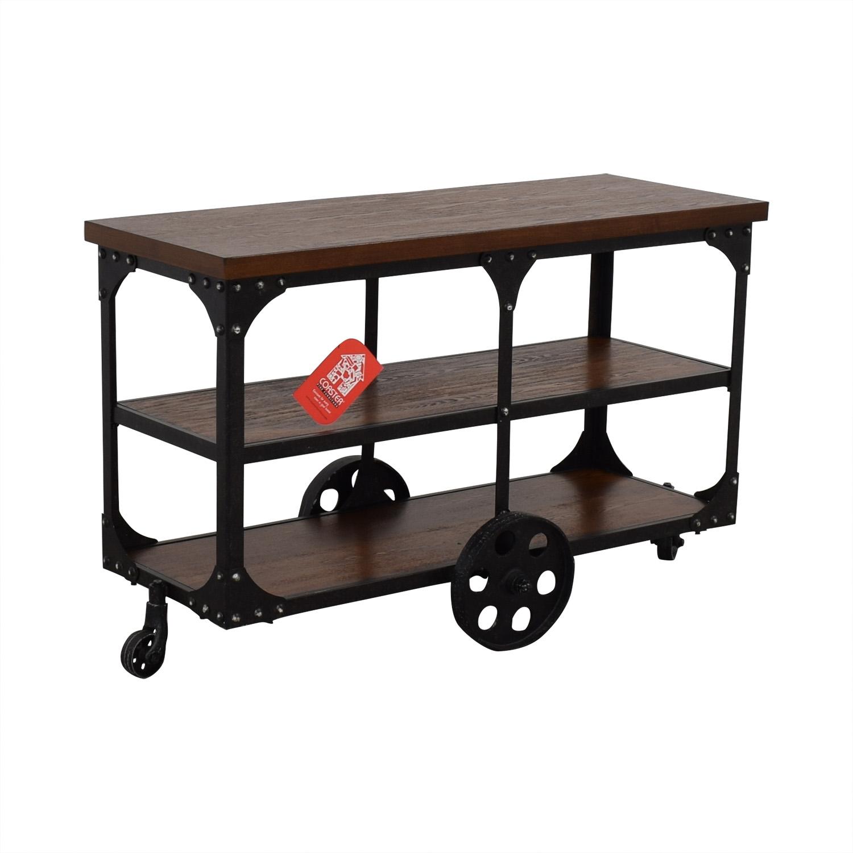 shop Coaster Fine Furniture Rustic Industrial Roller Cart Sofa Table Coaster Fine Furniture