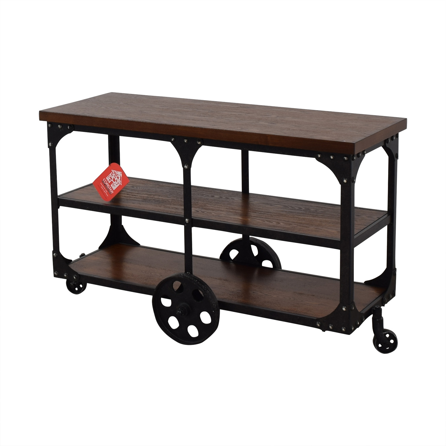 Coaster Fine Furniture Coaster Fine Furniture Rustic Industrial Roller Cart Sofa Table dimensions