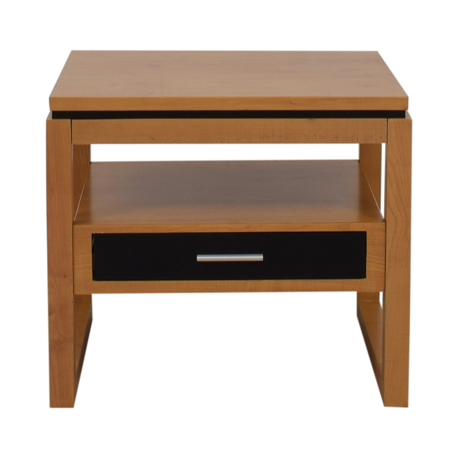 Coaster Coaster Black Single Drawer Natural Finish End Table