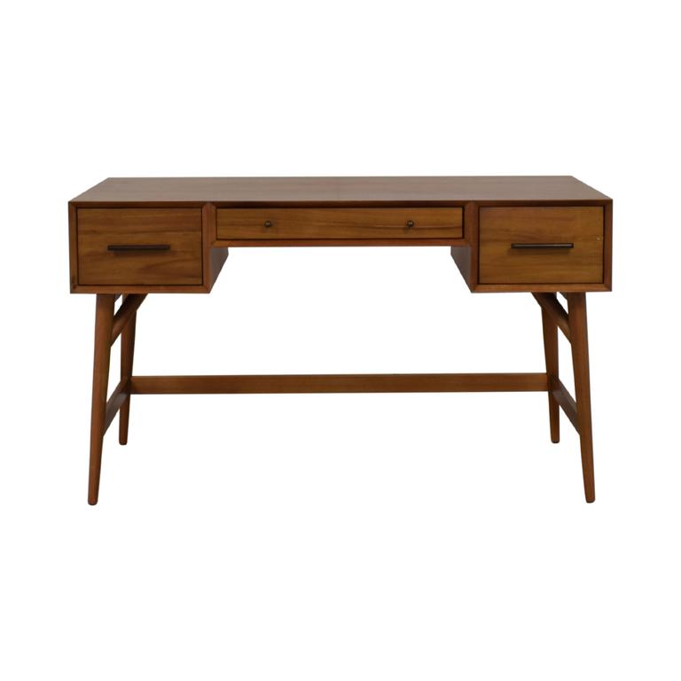shop West Elm Wood Three Drawer Desk West Elm