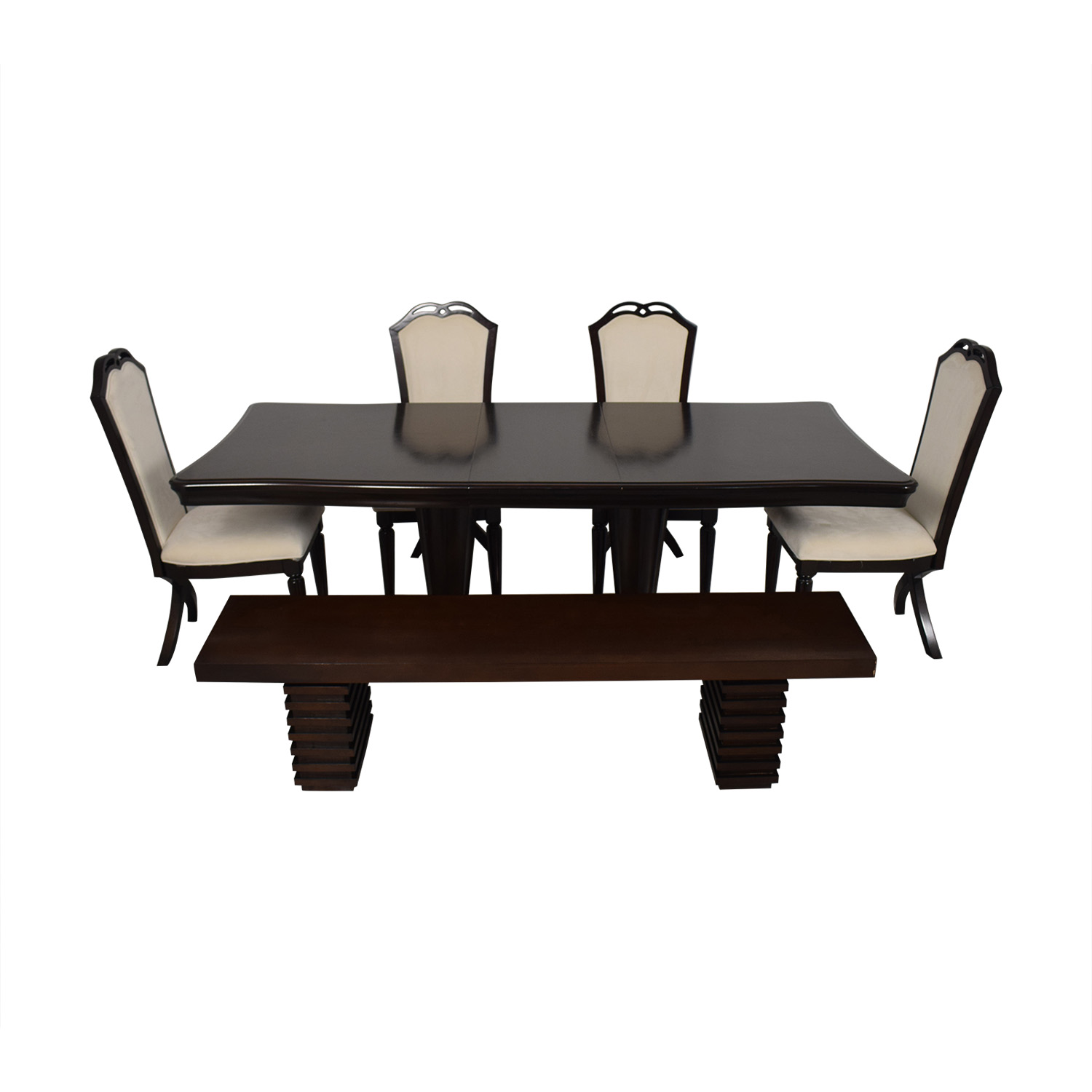 Raymour and Flanigan Extendable Dining Set with Bench Raymour & Flanigan