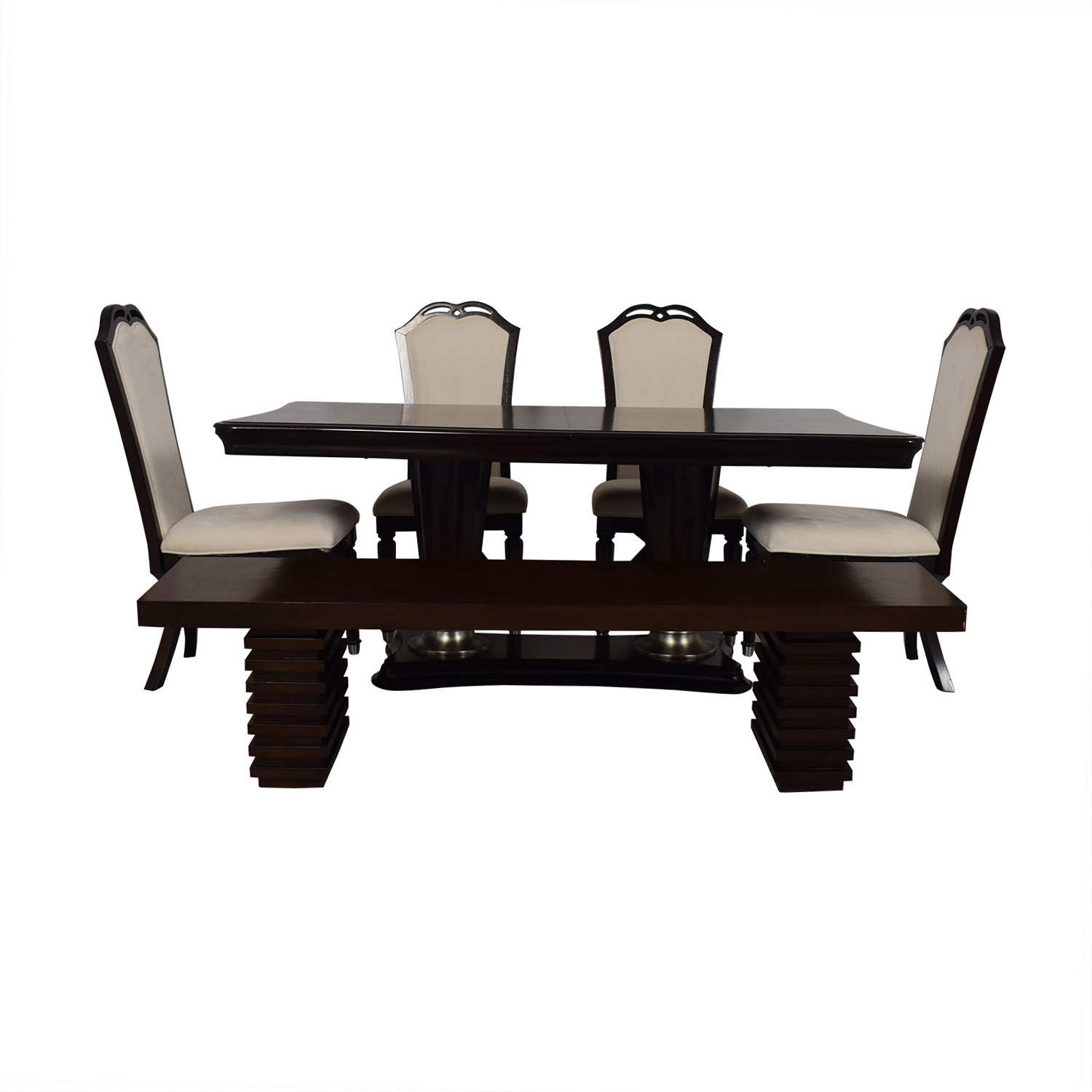 Raymour & Flanigan Raymour and Flanigan Extendable Dining Set with Bench for sale