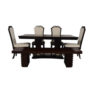 Raymour & Flanigan Raymour and Flanigan Extendable Dining Set with Bench nyc
