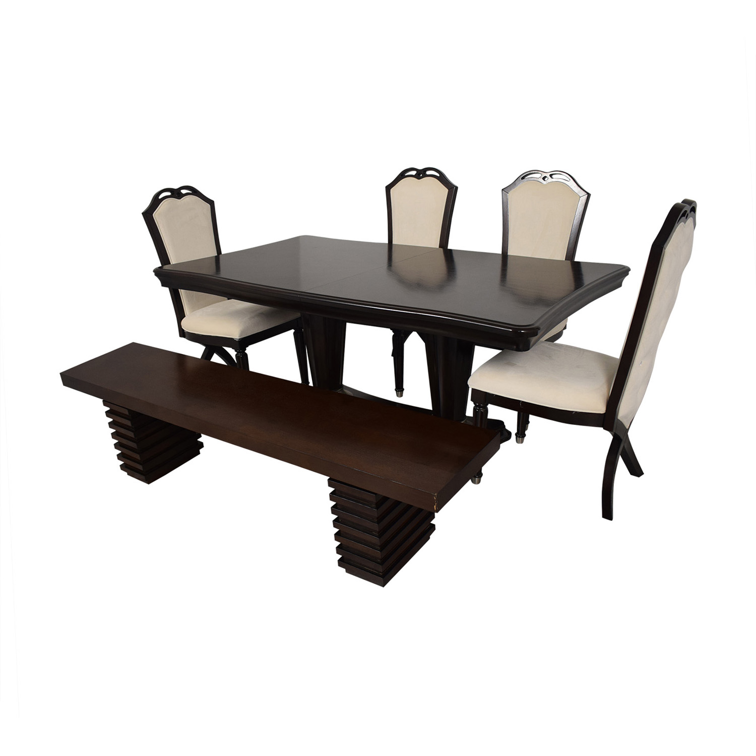shop Raymour and Flanigan Extendable Dining Set with Bench Raymour & Flanigan
