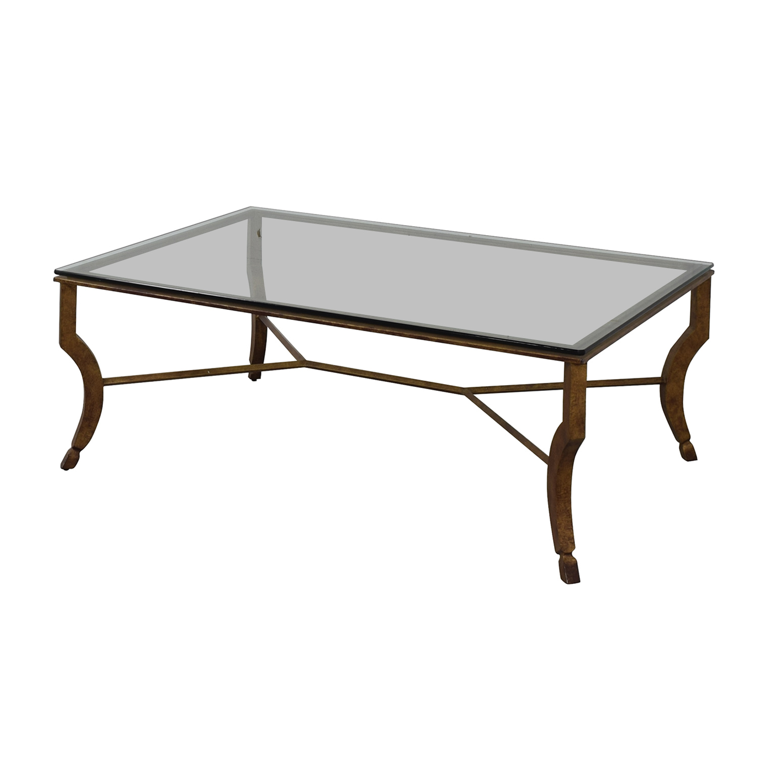 81 Off Glass And Metal Coffee Table Tables