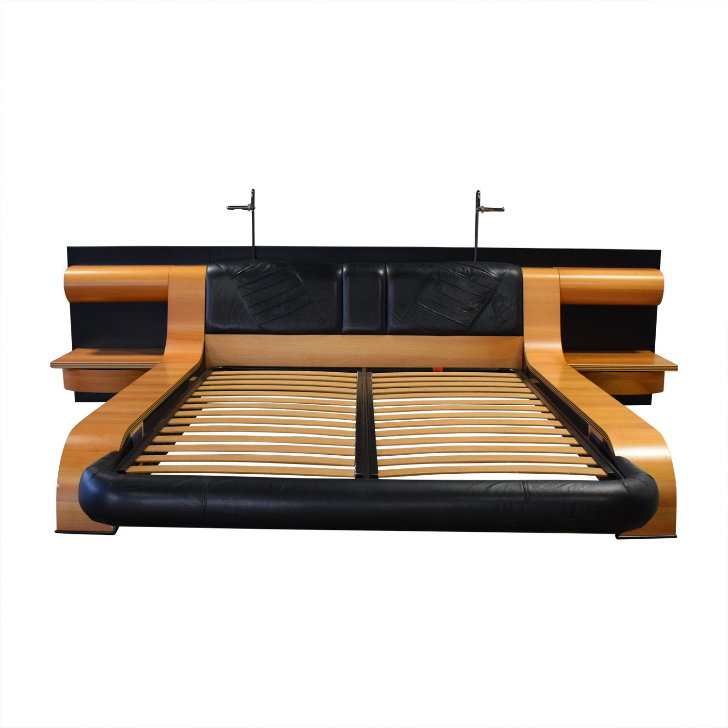 Italian Queen Platform Bed Frame with attached End Tables nyc