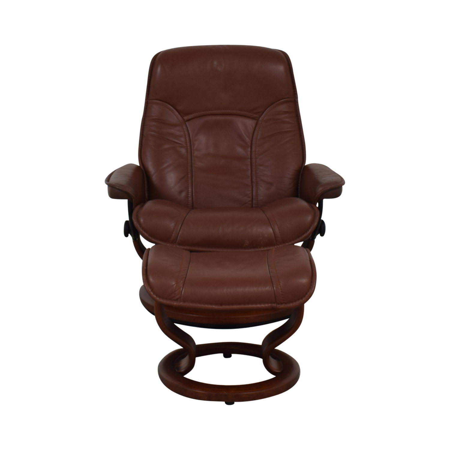 Brown Swivel Chair with Ottoman