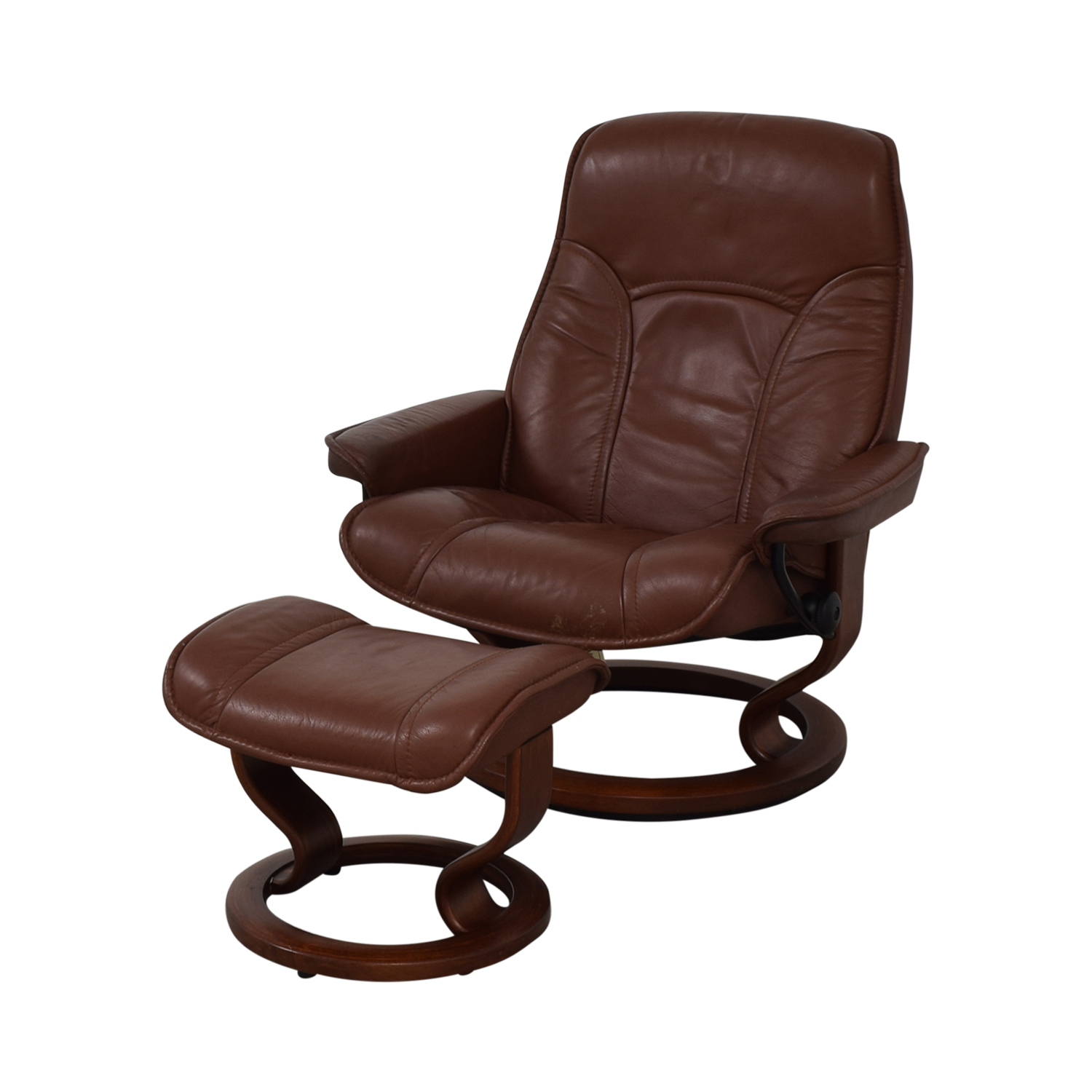 Brown Swivel Chair with Ottoman nj