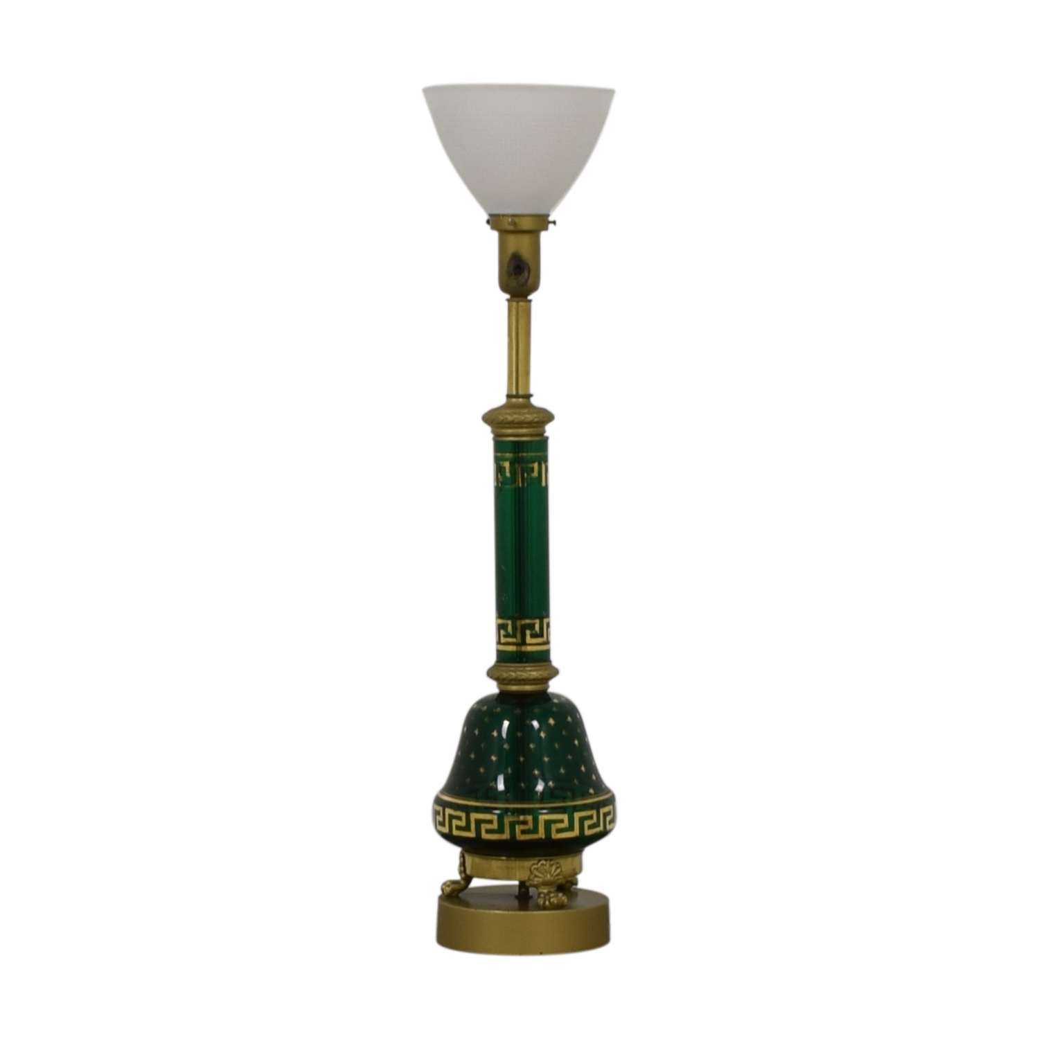 buy Vintage Green Glass Table Lamp  Decor