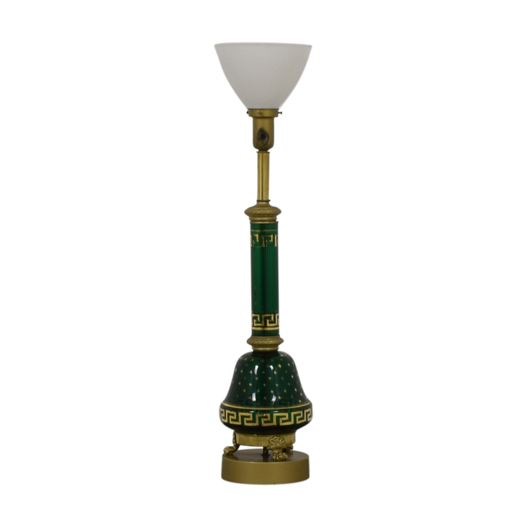 Vintage Green Glass Table Lamp used