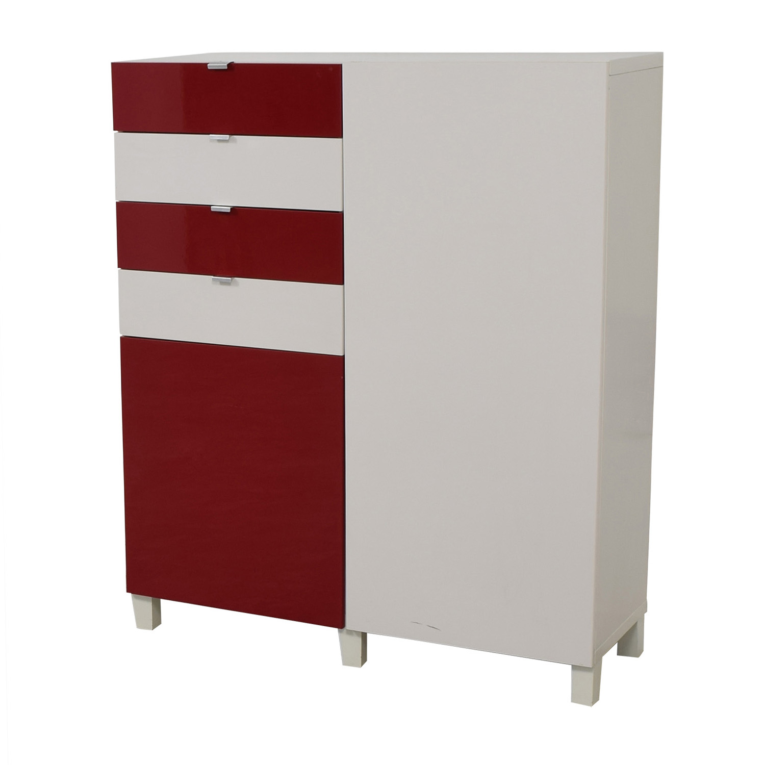 buy IKEA Red and White Four-Drawer Storage Unit IKEA