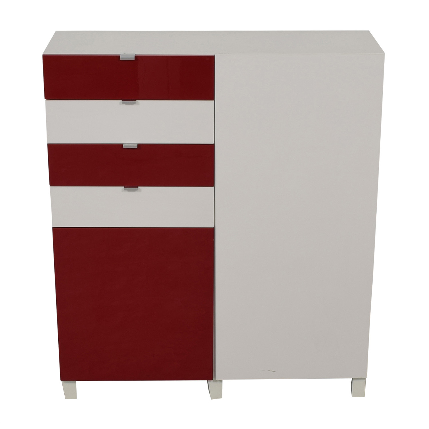 IKEA IKEA Red and White Four-Drawer Storage Unit on sale