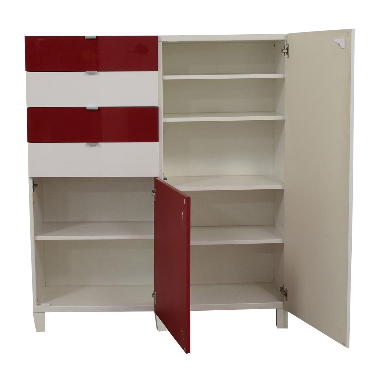 IKEA Red and White Four-Drawer Storage Unit / Storage