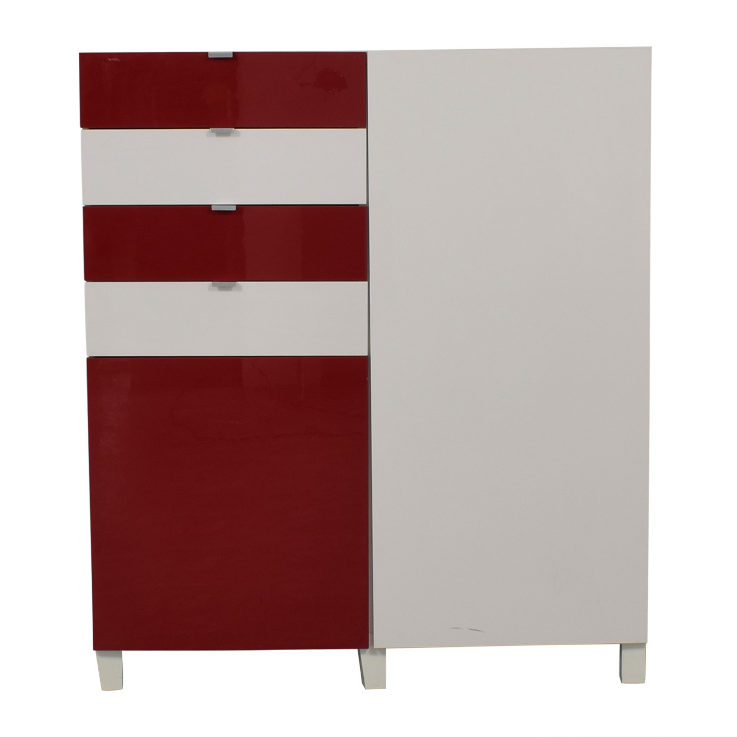 IKEA IKEA Red and White Four-Drawer Storage Unit