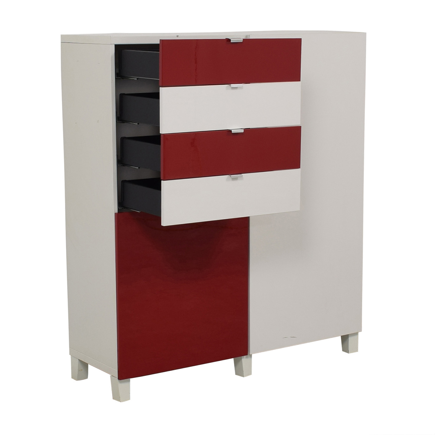 buy IKEA IKEA Red and White Four-Drawer Storage Unit online