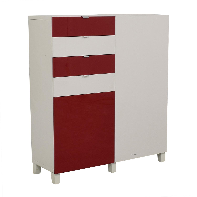 84 Off Ikea Ikea Red And White Four Drawer Storage Unit Storage