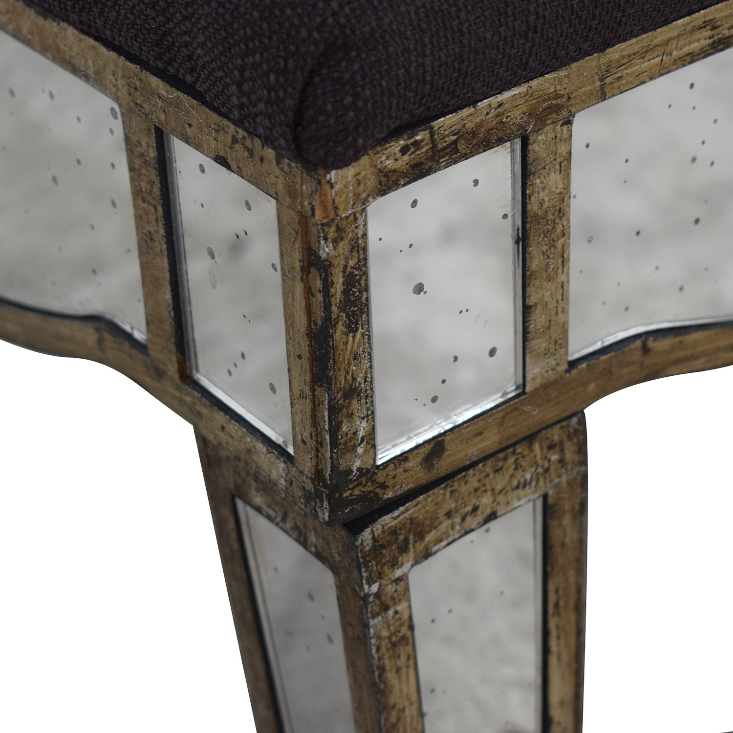 Mirrored Slate Tufted Ottoman Chairs