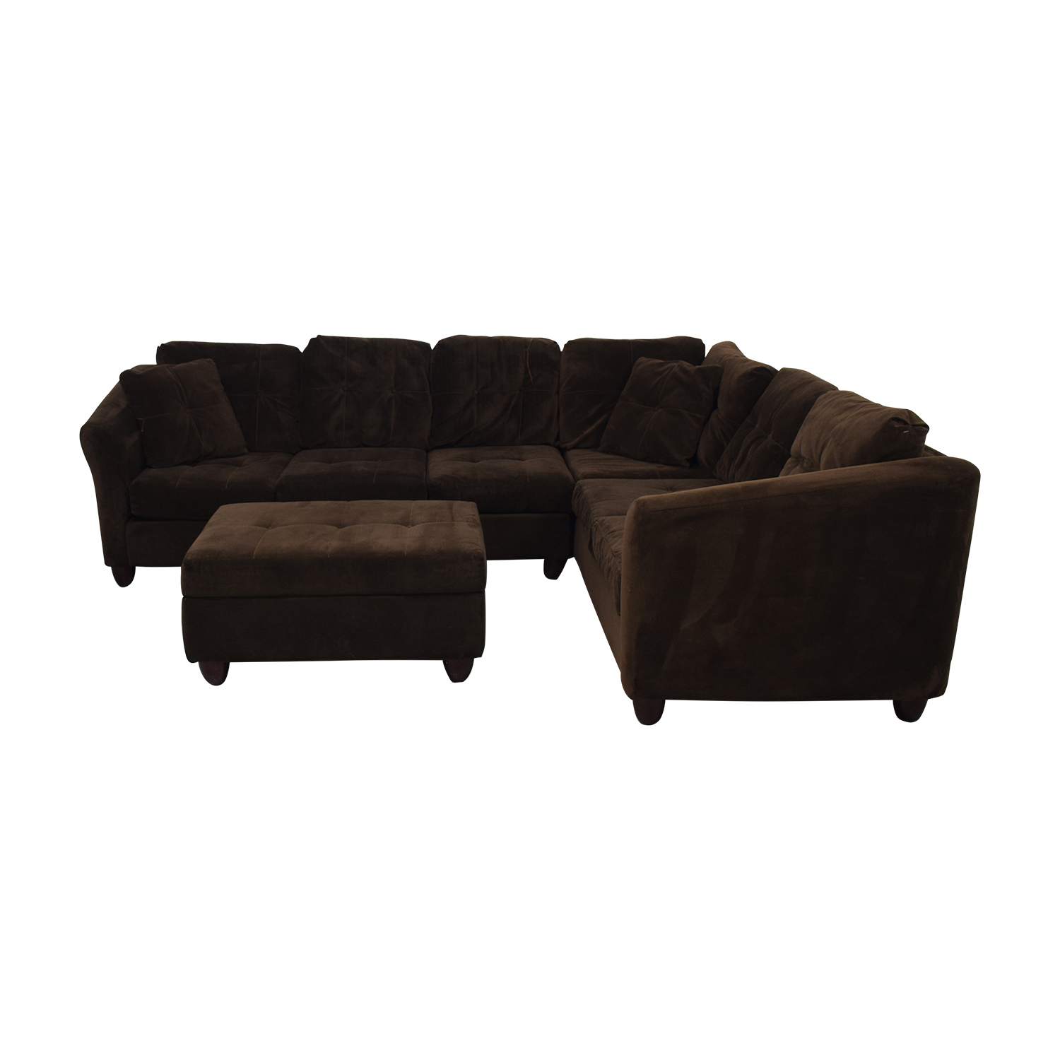 Raymour & Flanigan Brown Tufted Microsuede L-Shaped Sectional and Ottoman / Sectionals