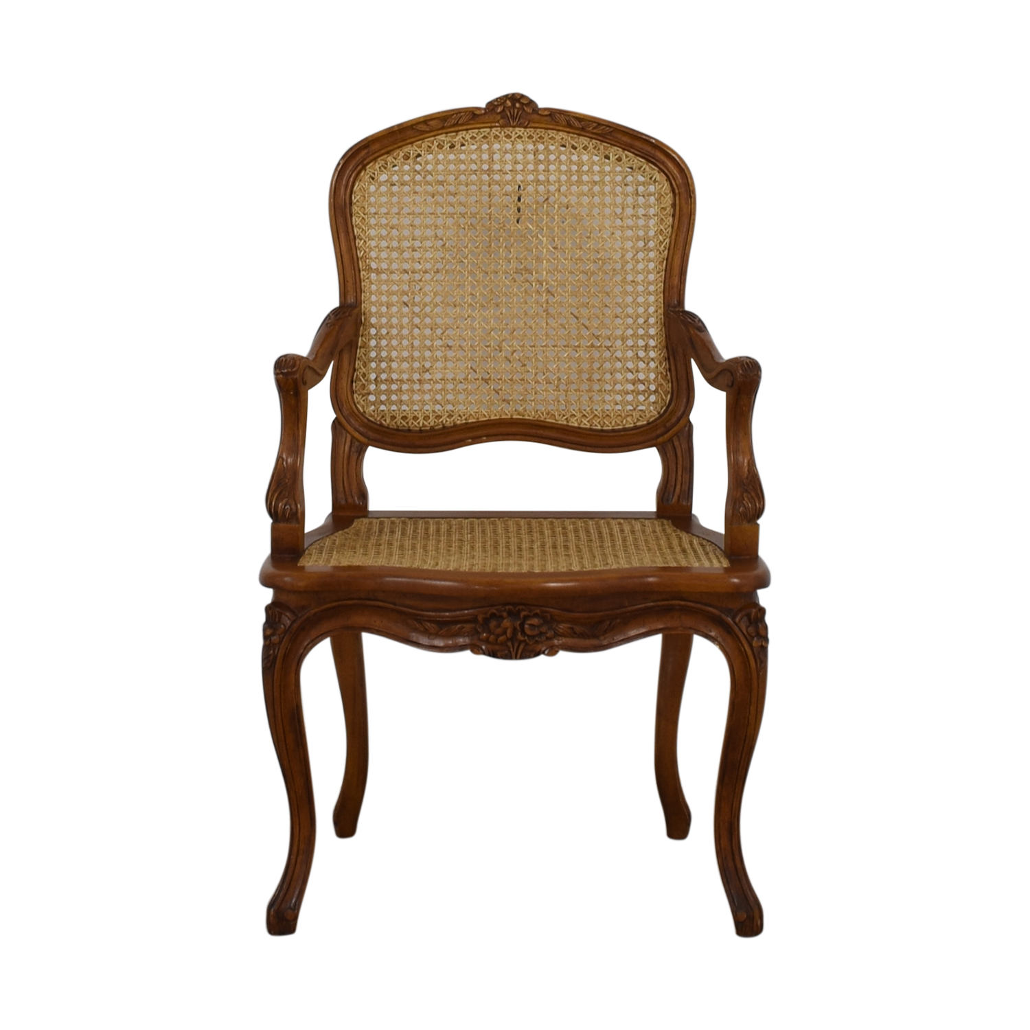 French Wood Cane Accent Chair