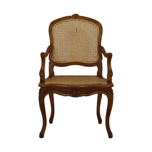French Wood Cane Accent Chair second hand