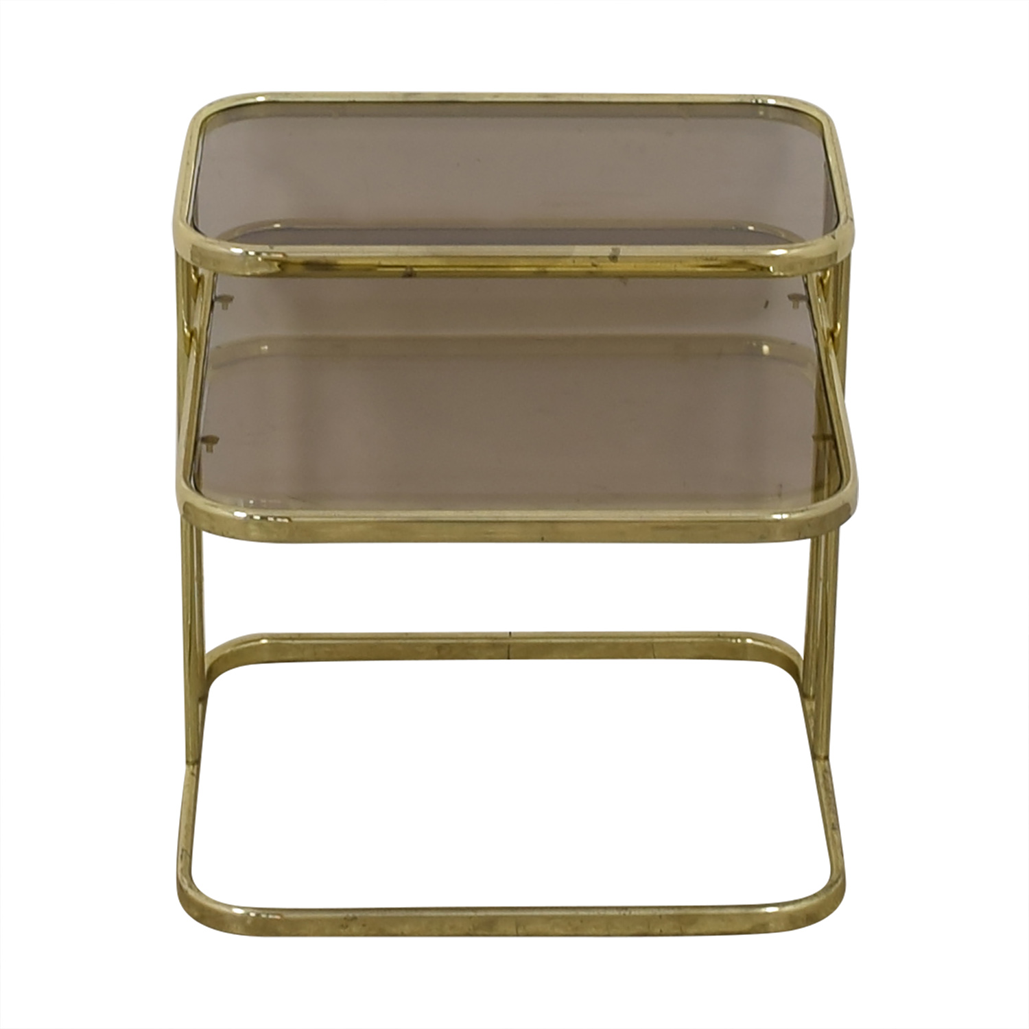 Glass & Gold Chrome End Table for sale