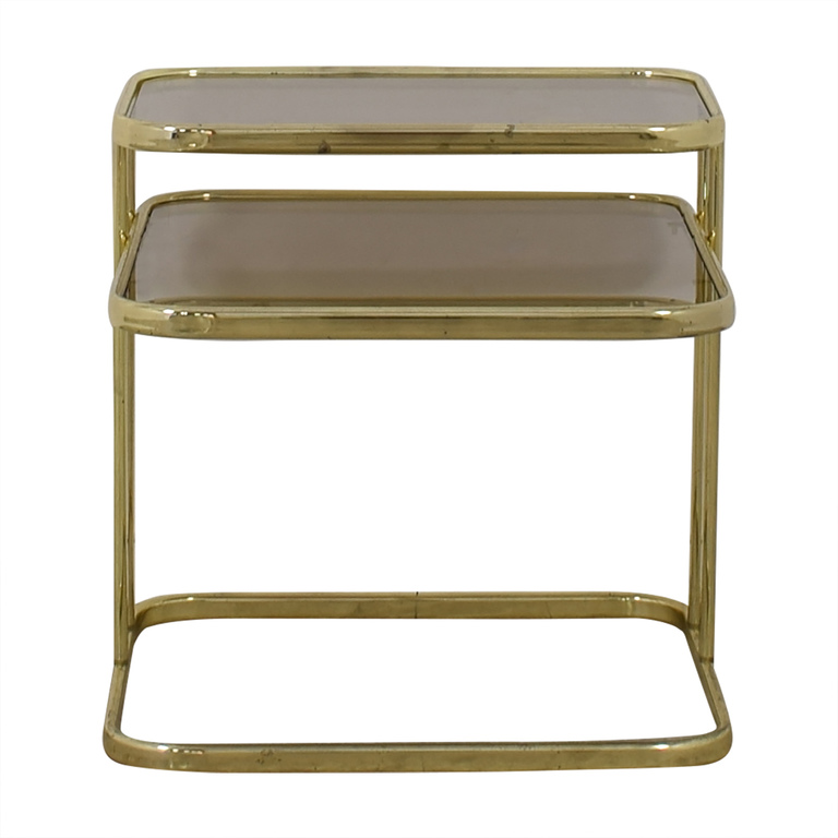 Glass & Gold Chrome End Table price