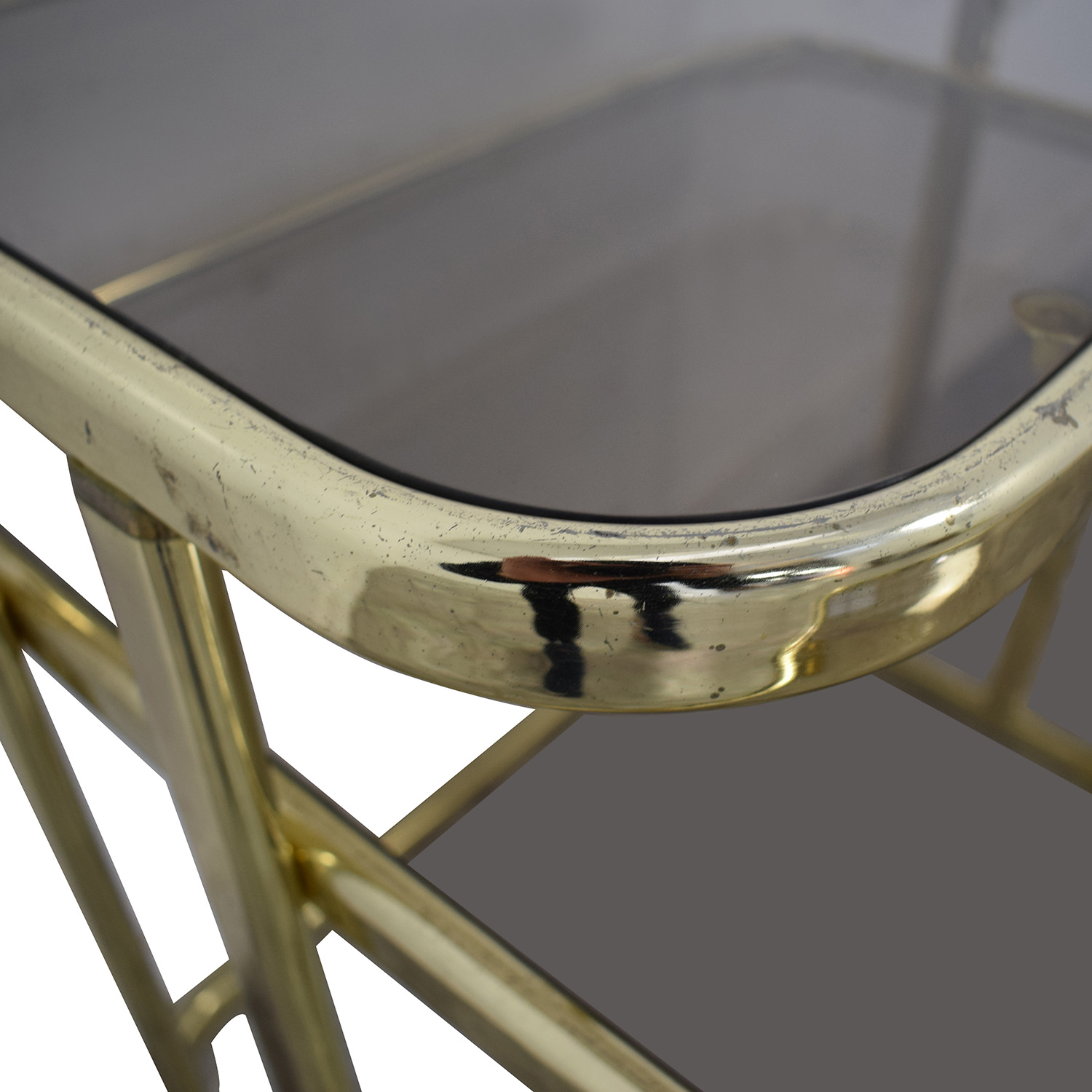 Glass & Gold Chrome End Table used