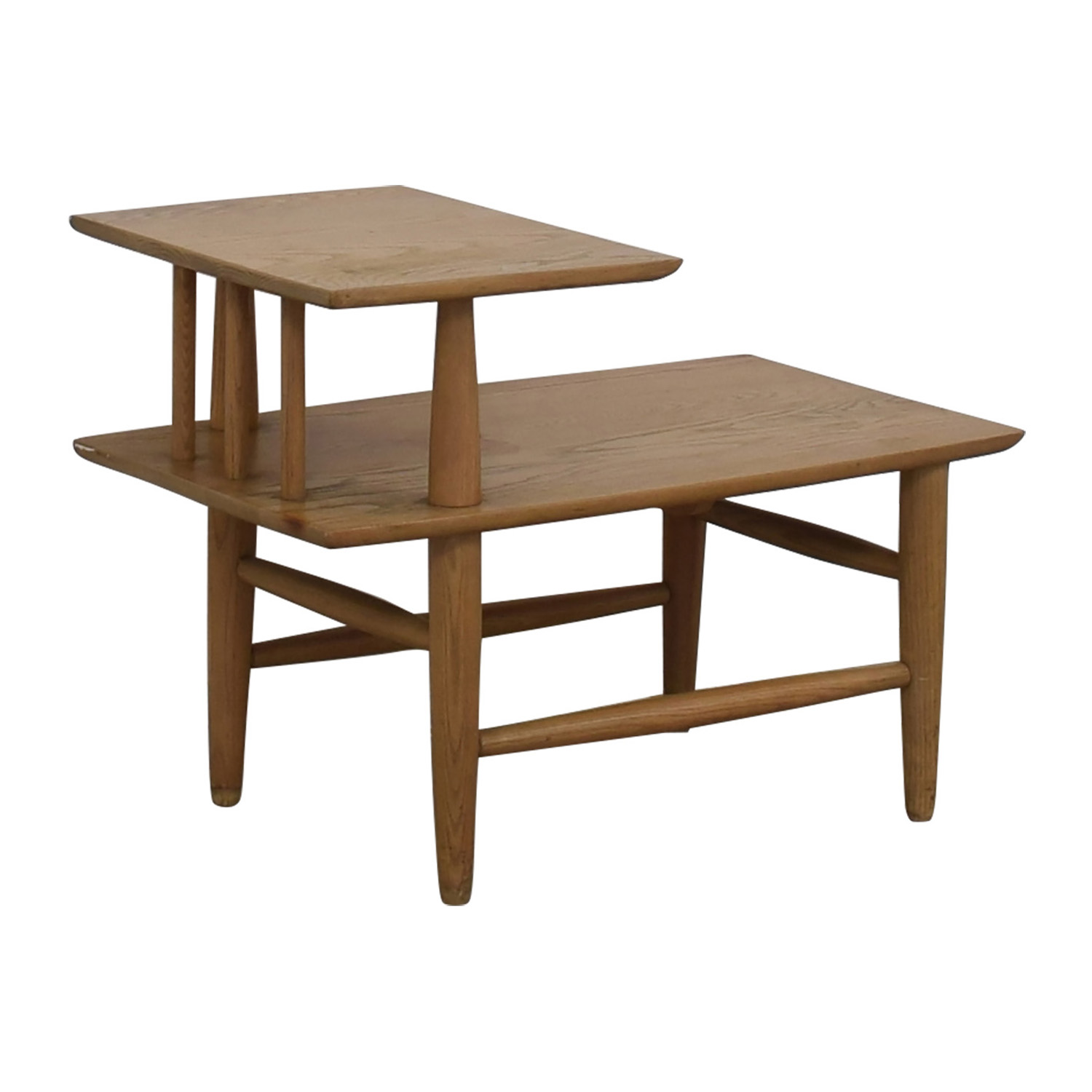 Natural Wood Two-Level Coffee table used