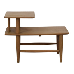 Natural Wood Two-Level Coffee Table nyc