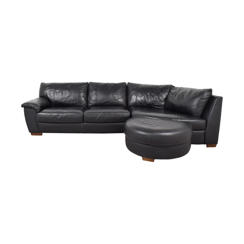 buy IKEA Vreta  Black Left Arm Corner Sofa with Ottoman IKEA Sectionals