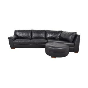 IKEA IKEA Vreta  Black Left Arm Corner Sofa with Ottoman nj