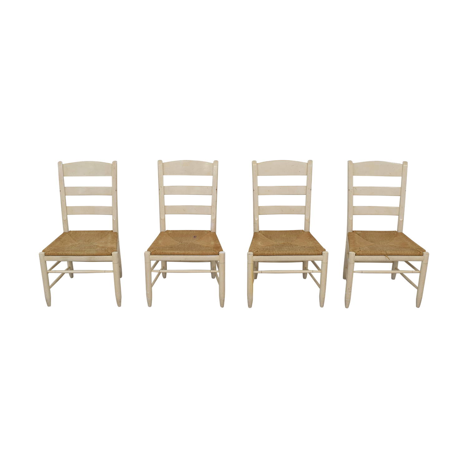 Ethan Allen New Country Ladderback White Side Chairs Ethan Allen
