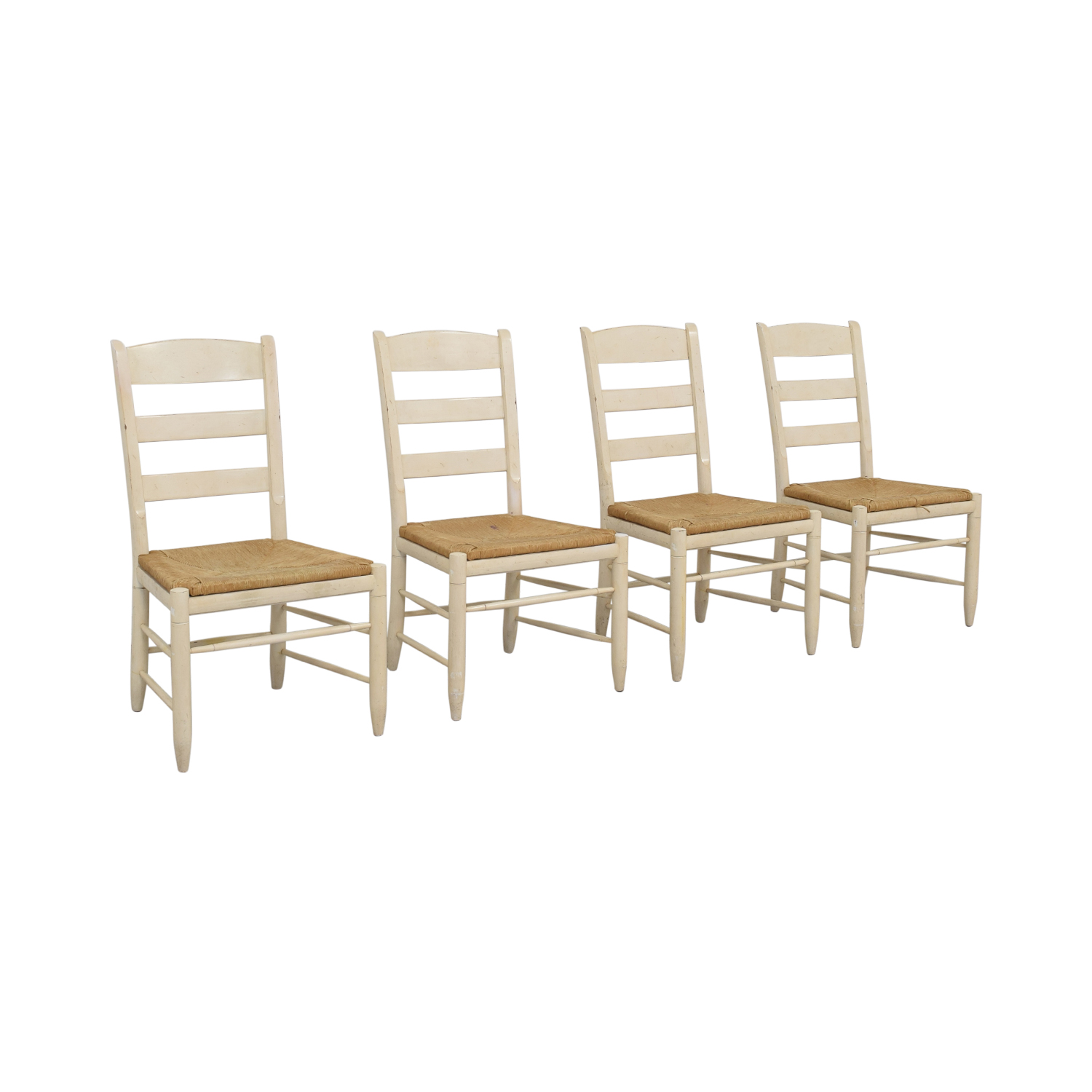 buy Ethan Allen New Country Ladderback White Side Chairs Ethan Allen Dining Chairs