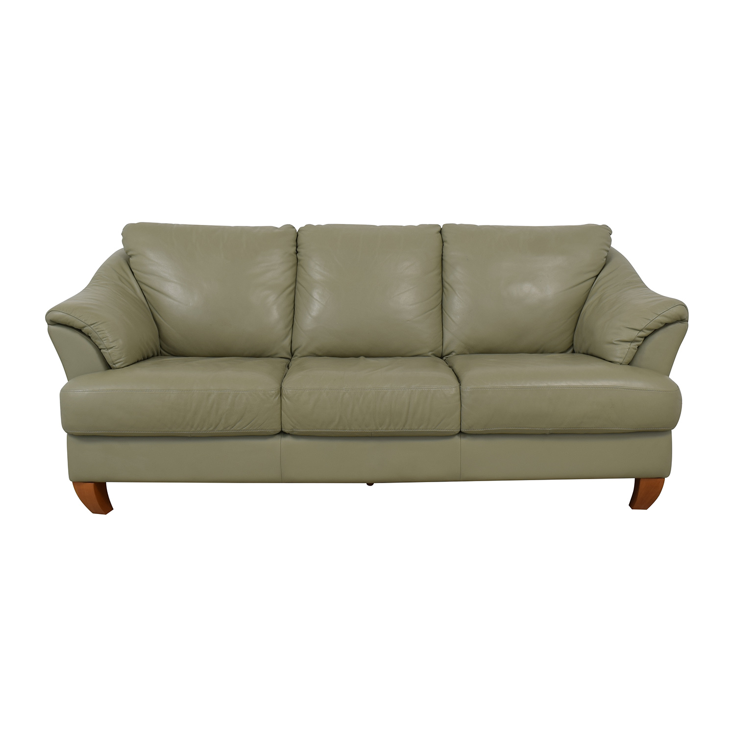 Natuzzi Natuzzi Mint Grey Three-Cushion Sofa second hand
