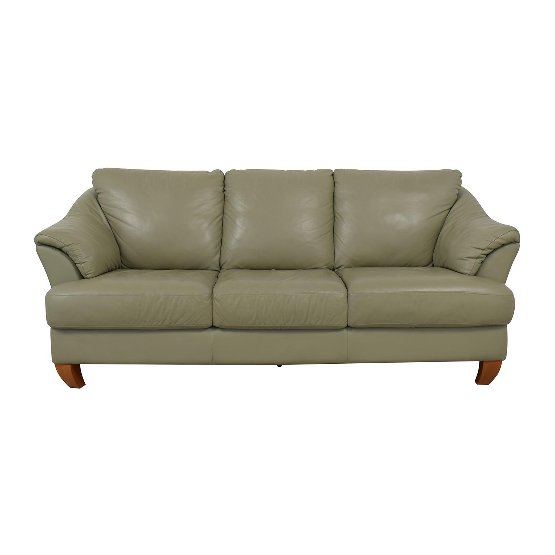 Natuzzi Natuzzi Mint Grey Three-Cushion Sofa second hand