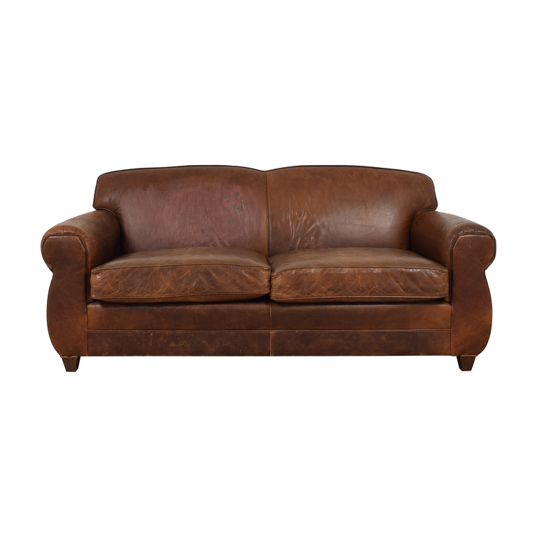 Restoration Hardware Restoration Hardware by Mitchell Gold Two Cushion Leather Sofa discount