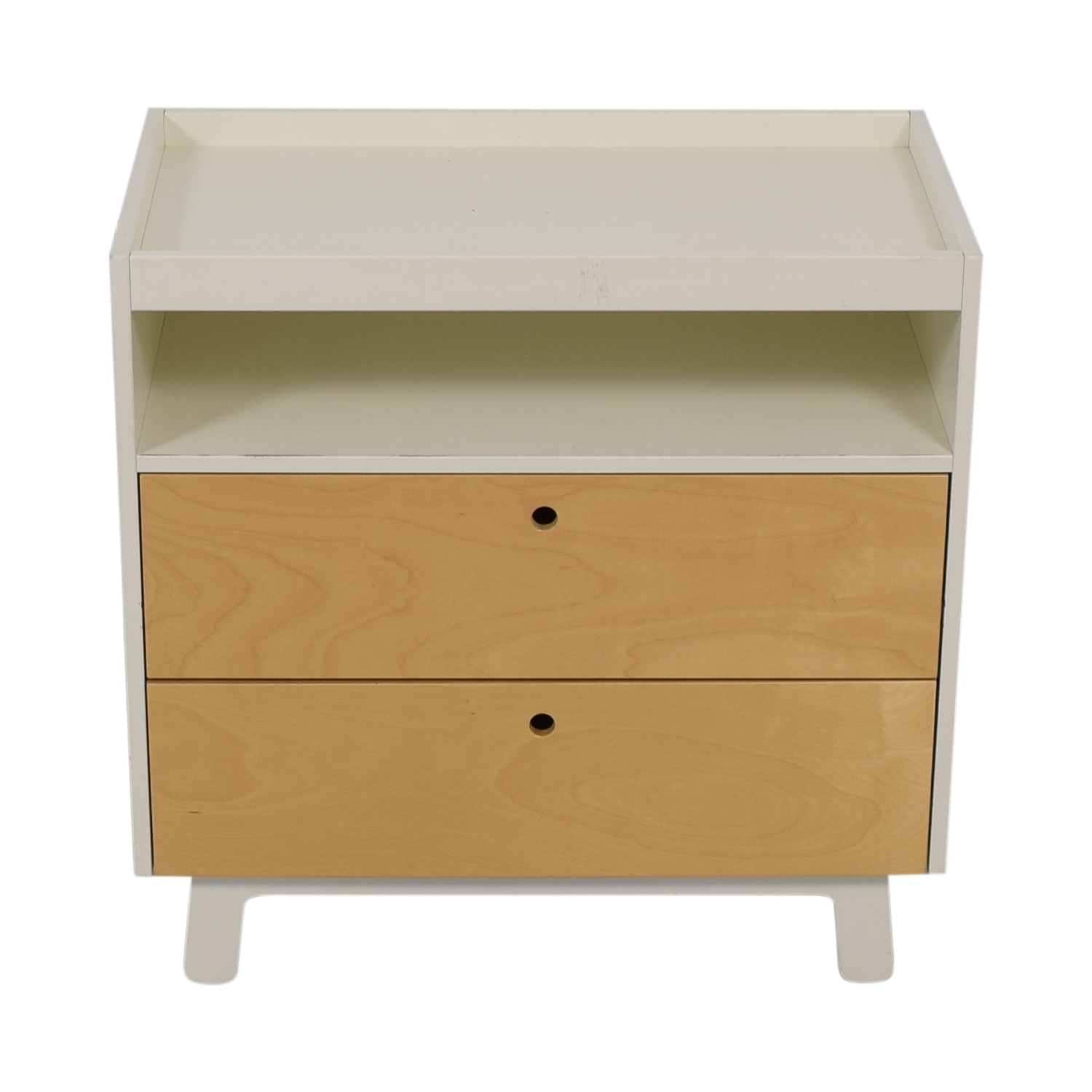 shop Oeuf White and Natural Two-Drawer Dresser with Changing Table Top Oeuf Storage