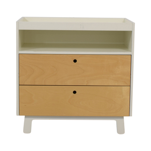 Oeuf Oeuf White and Natural Two-Drawer Dresser with Changing Table Top