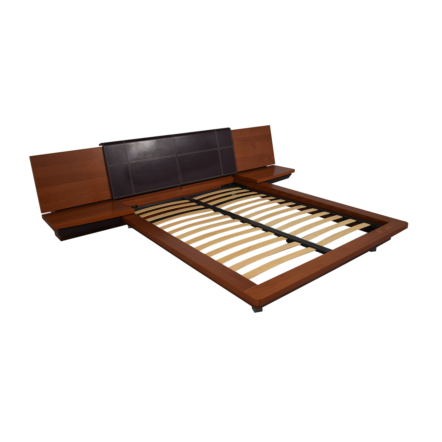 Queen Platform Bed Frame with attached End Tables discount