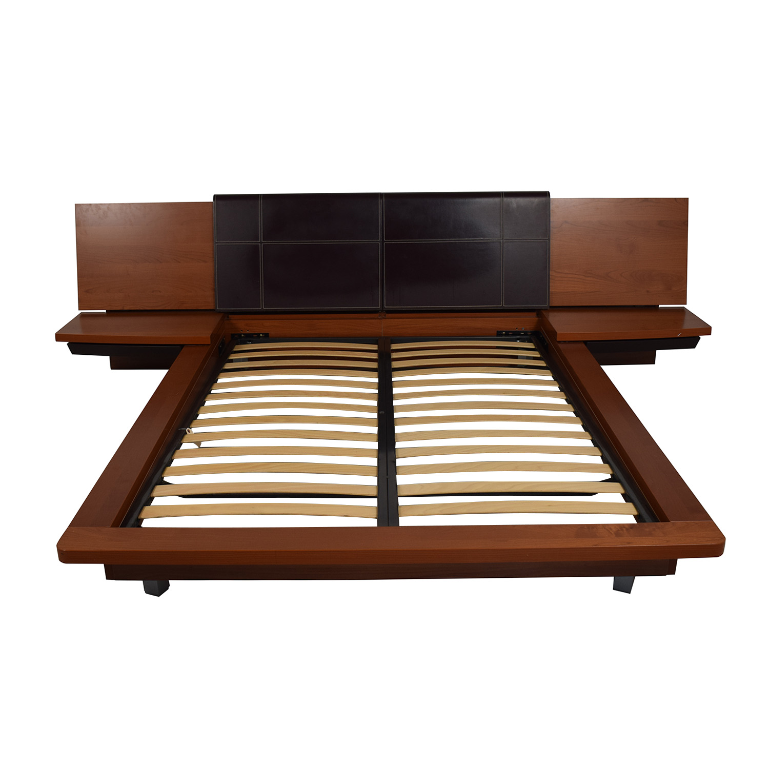 75 Off Queen Platform Bed Frame With End Tables Beds