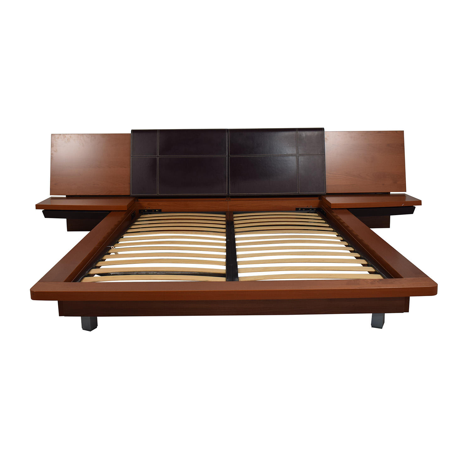 buy Queen Platform Bed Frame with attached End Tables
