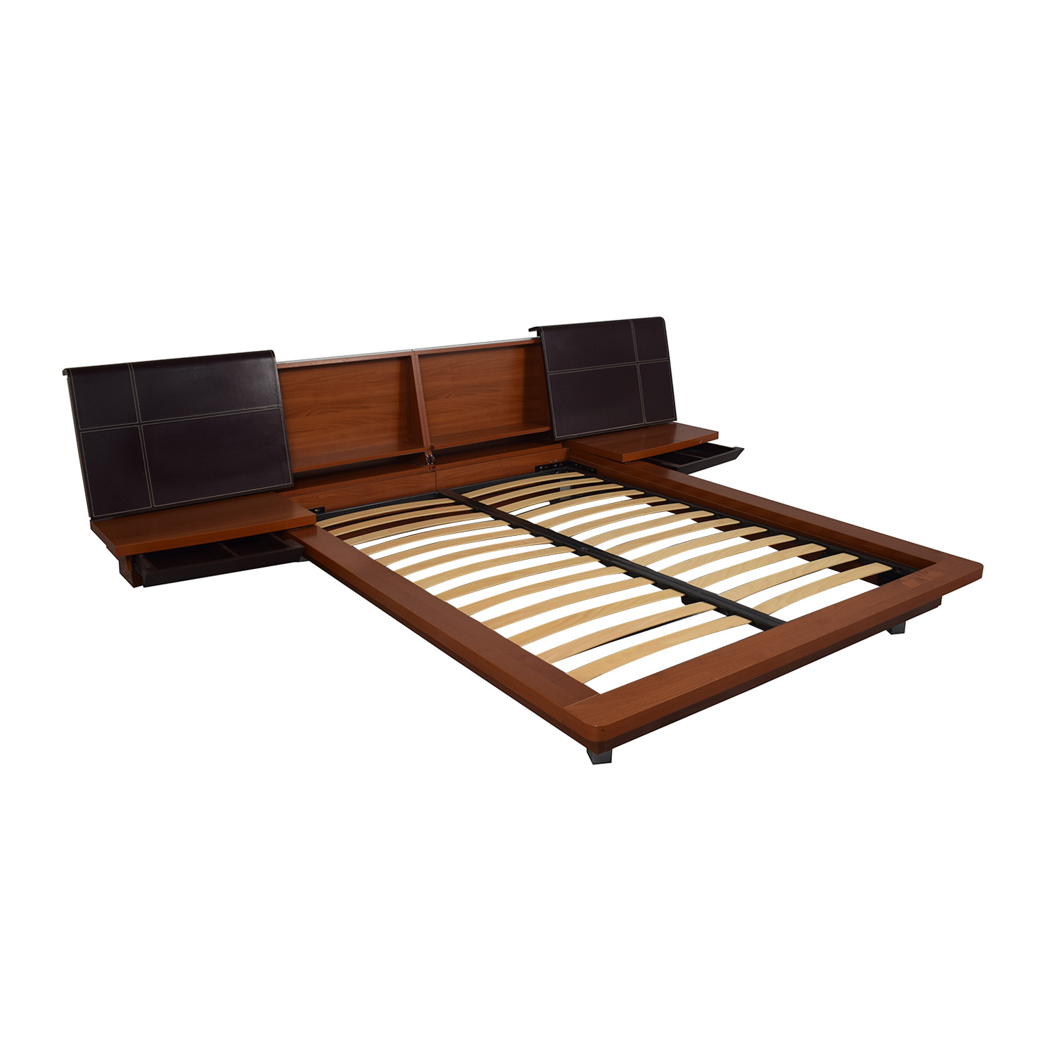 53% OFF   Queen Platform Bed Frame with attached End Tables / Beds