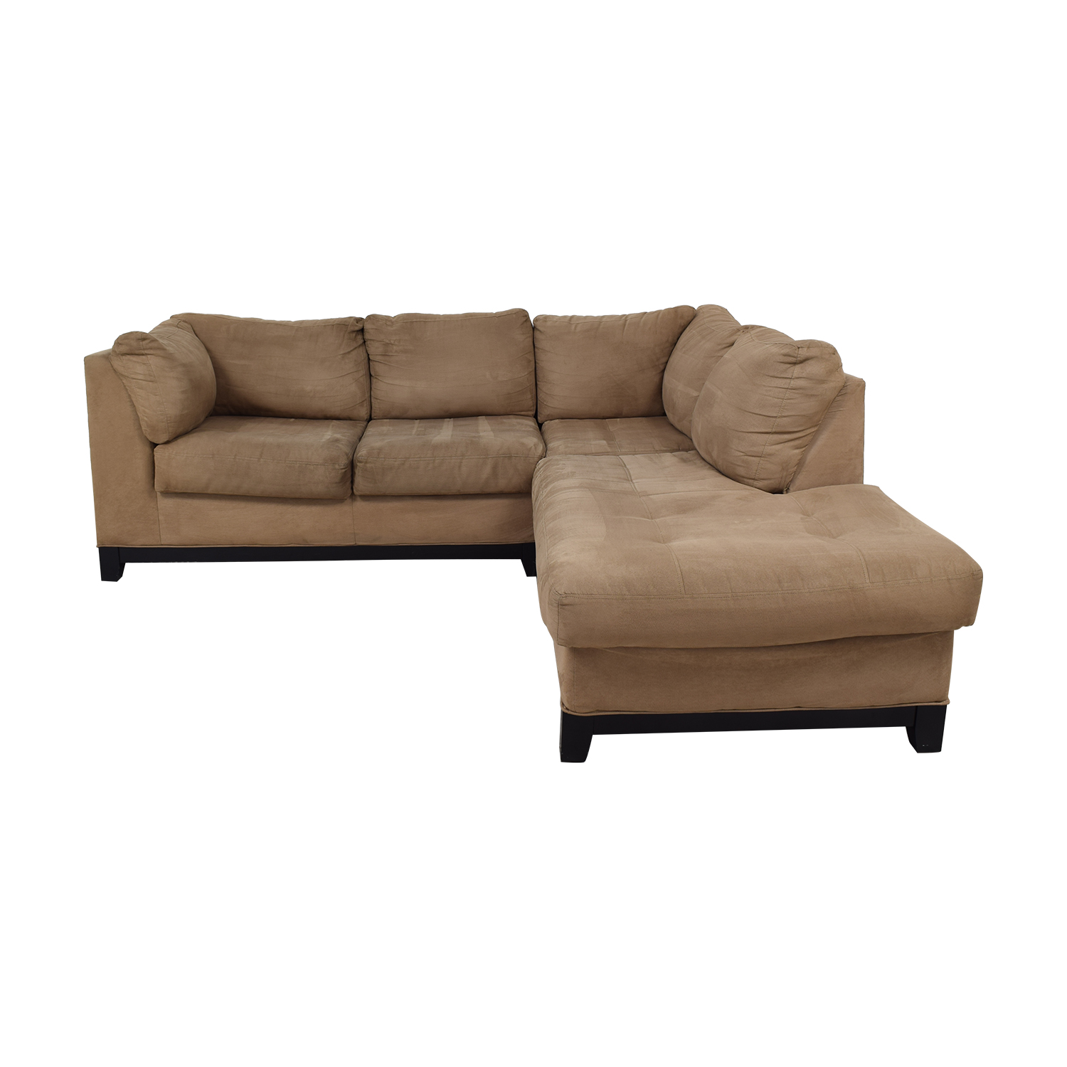 buy Raymour & Flanigan Kathy Ireland Mocha Microfiber Chaise Sectional Raymour & Flanigan Sectionals