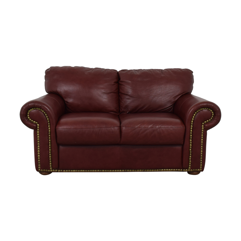 Macy's Macy's Burgundy Nailhead Two-Cushion Loveseat on sale