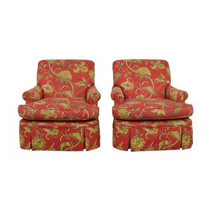 Red Printed Fabric Armchairs with Iman Fabric coupon