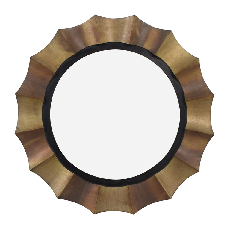 Distressed Framed Round Wall Mirror discount